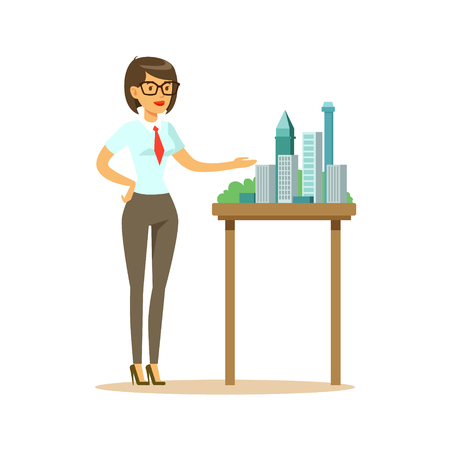 Young architect woman presenting model of city buildings, colorful character vector Illustration isolated on a white background