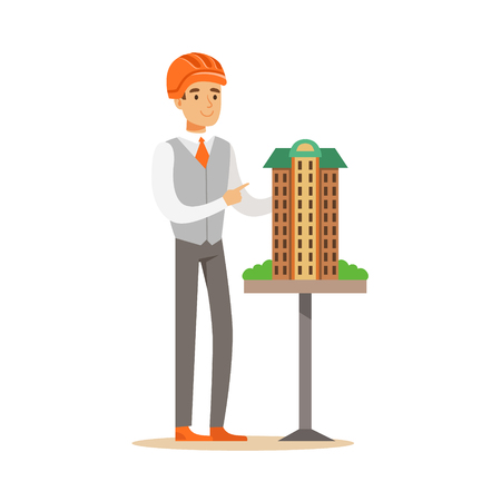 Young architect man in orange safety helmet presenting model of building, colorful character vector Illustration isolated on a white background