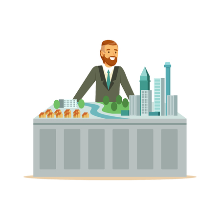 Young smiling architect man presenting model of city plan, colorful character vector Illustration isolated on a white background