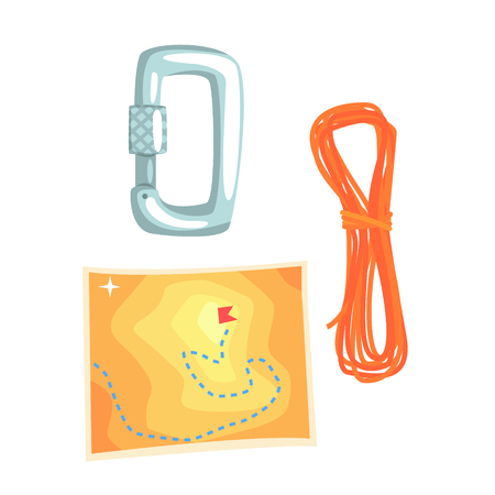 Map and climbing equipment vector Illustration