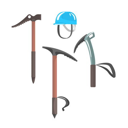Ice axes and blue helmet, equipment for mountaineering vector Illustration isolated on a white background Imagens - 79588120