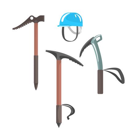 IJsbijlen en blauwe helm, uitrusting voor bergbeklimmen vector illustratie geïsoleerd op een witte achtergrond