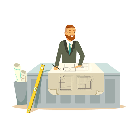 Young smiling architect working on his project at the desk, colorful character vector Illustration isolated on a white background