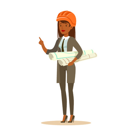 Architect woman in orange safety helmet standing and holding project blueprints rolls, colorful character vector Illustration