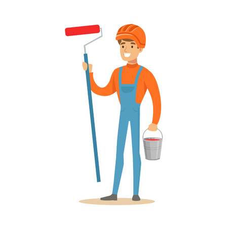 Smiling painter wearing orange safety helmet and work clothes holding a paint roller and bucket in his hands, colorful character vector Illustration isolated on a white background