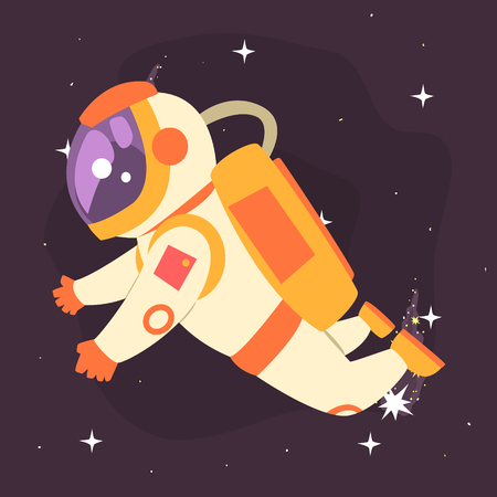 spacesuit: Astronaut floating in outer Space colorful vector Illustration Illustration