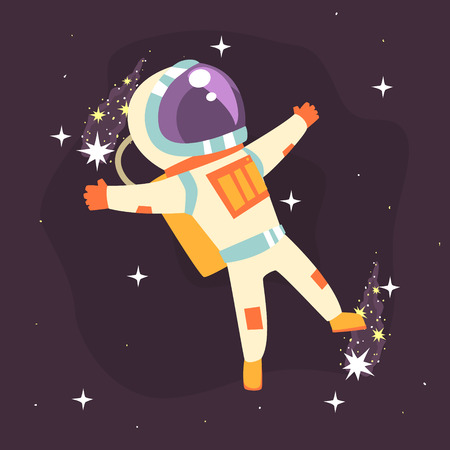 spacesuit: Astronaut in space suit at spacewalk colorful vector Illustration Illustration