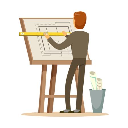 Architect die aan zijn project op een tekenbord, kleurrijke karakter vectorillustratie werken