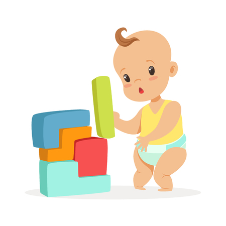 Cute baby standing and playing with toy blocks, colorful cartoon character vector Illustration Иллюстрация