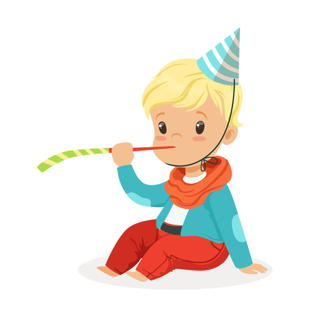 Cute baby boy wearing a party hat sitting with party blower. Kids birthday party colorful cartoon character vector Illustration