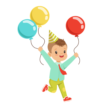 Happy sweet little boy wearing a party hat running with colorful balloons. Childrens birthday party cartoon character vector Illustration isolated on a white background Illustration