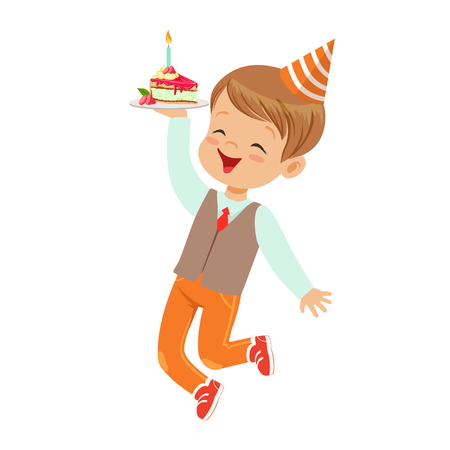 Adorable little boy in elegant clothes and red party hat having fun with birthday cake. Childrens birthday party colorful cartoon character vector Illustration