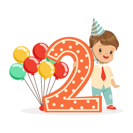 Cute happy baby boy celebrating his second birthday, colorful cartoon character vector Illustration Illustration