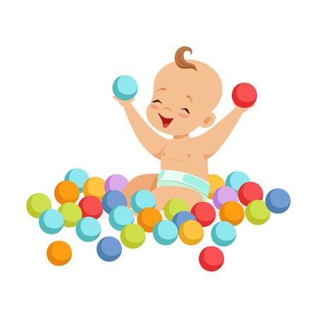 Lindo bebé feliz sentado y jugando con pequeñas bolas multicolores, ilustración vectorial de colorido personaje de dibujos animados