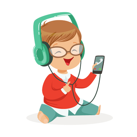 listening to music: Smiling little boy sitting on the floor and listening to music in headphones, colorful cartoon character vector Illustration Illustration