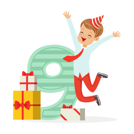 Happy nine year old boy celebrating his birthday, colorful cartoon character vector Illustration