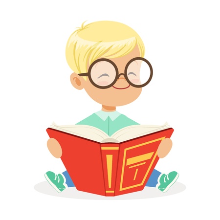 Cute little towheaded boy wearing glasses sitting on the floor and reading a book, colorful cartoon character vector Illustration Illustration
