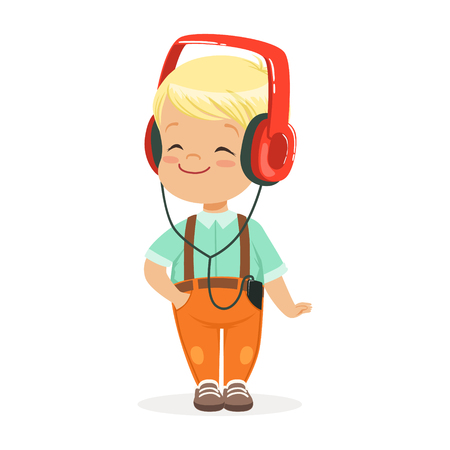 Smiling little boy listening to music in headphones, colorful cartoon character vector Illustration