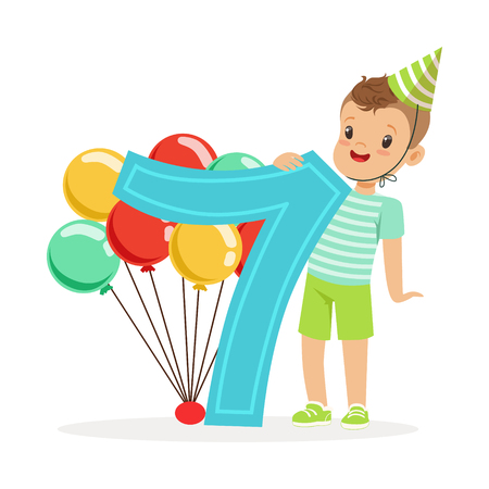 Adorable seven year old boy celebrating his birthday, colorful cartoon character vector Illustration Illustration