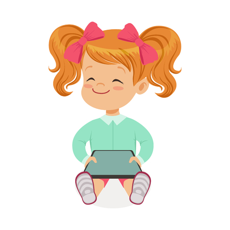 using tablet: Little girl sitting and playing with digital tablet. Child and modern technology colorful cartoon character vector Illustration