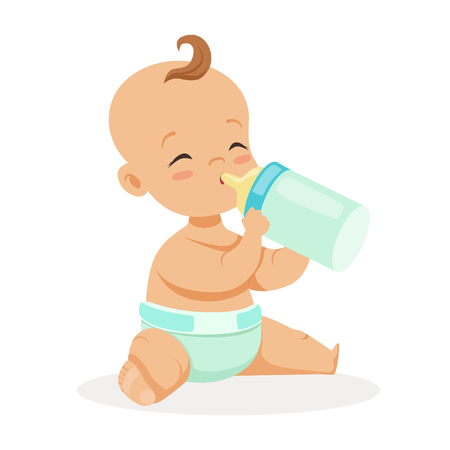 Sweet little baby sitting and drinking milk in a plastic bottle, colorful cartoon character vector Illustration isolated on a white background