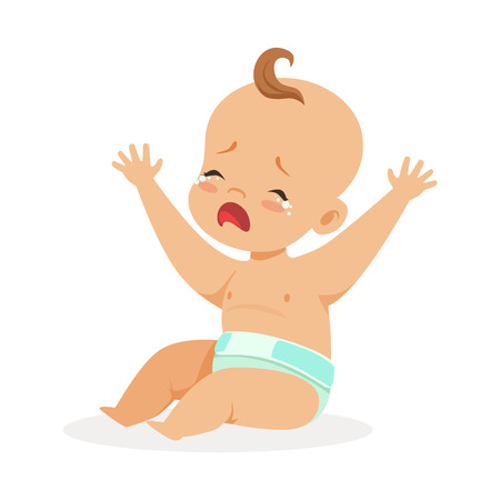 Sweet little baby in a diaper sitting with his hands raised and crying, colorful cartoon character vector Illustration isolated on a white background Illustration