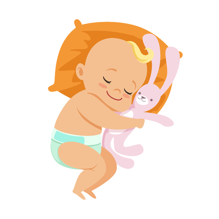 Adorable little baby in a diaper sleeping and hugging his soft toy hare, colorful cartoon character vector Illustration isolated on a white background