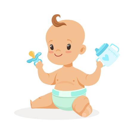달콤한 작은 아기 앉아서 오 르네 컵 노리개, 다채로운 만화 문자로 그림 흰색 배경에 고립 된 벡터 일러스트 레이 션
