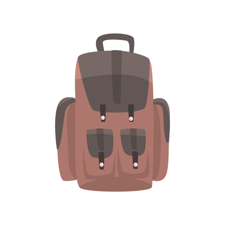 Brown backpack, casual rucksack vector Illustration isolated on a white background