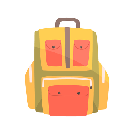 Colorful backpack, rucksack for school or travel vector Illustration
