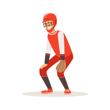 Baseball player in a red uniform trying to catch ball vector Illustration isolated on a white background