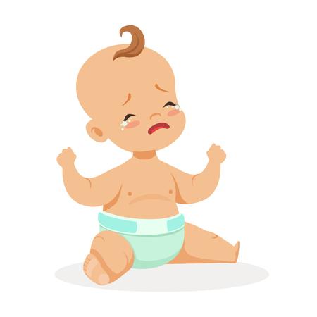 Adorabile piccolo bambino seduto e piangere, vettore colorato vettore di cartone animato Illustrazione isolato su uno sfondo bianco Archivio Fotografico - 79761777