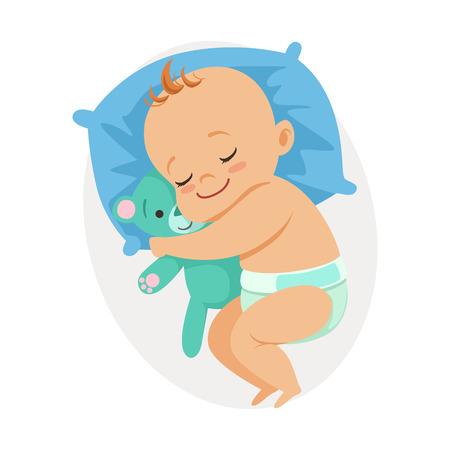Lieve kleine baby slaapt in zijn bed en knuffelen teddy beer, kleurrijke cartoon karakter vector illustratie geïsoleerd op een witte achtergrond