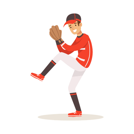 Baseball player in a red uniform pitching vector Illustration isolated on a white background Illustration