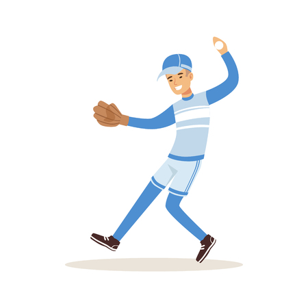 Smiling baseball player in a blue uniform pitching vector Illustration isolated on a white background