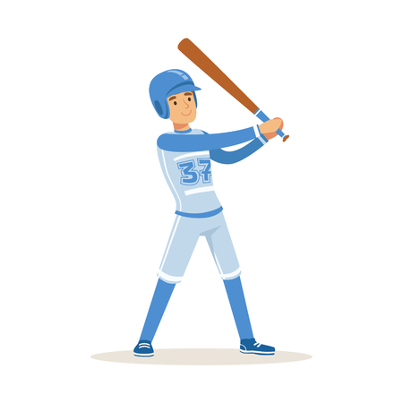 Baseball player in blue uniform getting ready to hit the ball vector Illustration Illustration