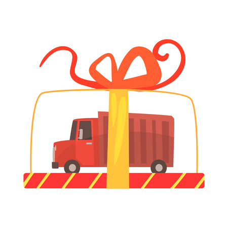 Toy truck in a transparent gift box cartoon vector Illustration