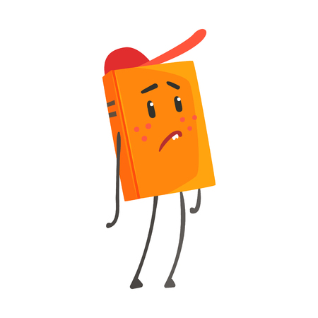 Sad orange humanized cartoon book character in a red cap vector Illustration isolated on a white background