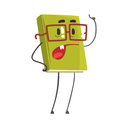Speaking book cartoon humanized character pointing with his finger vector Illustration