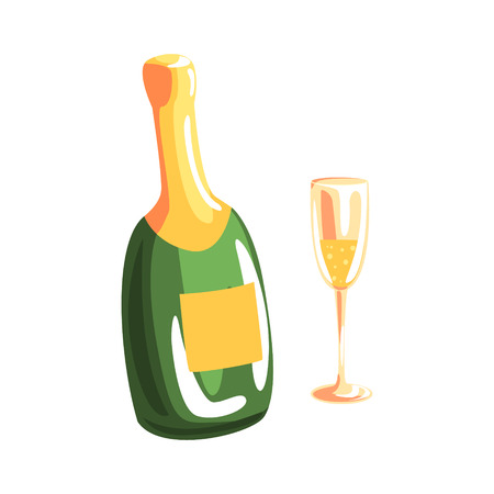 Bottle of champagne and full champagne glass cartoon vector Illustration isolated on a white background