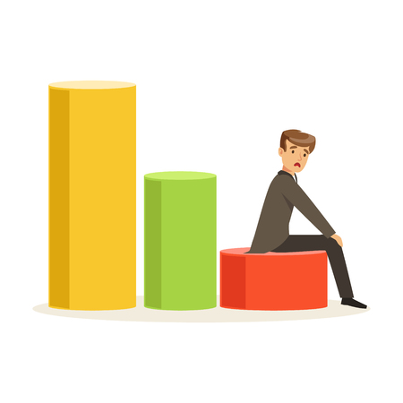 Frustrated businessman sitting on a graph down, unsuccessful character vector Illustration Фото со стока - 80061806