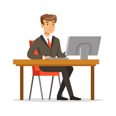 Young businessman working on his computer vector Illustration