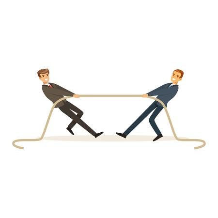 Twee jonge bedrijfsmensen die sleepbootoorlog, bedrijfsconcurrentie vectorillustratie spelen