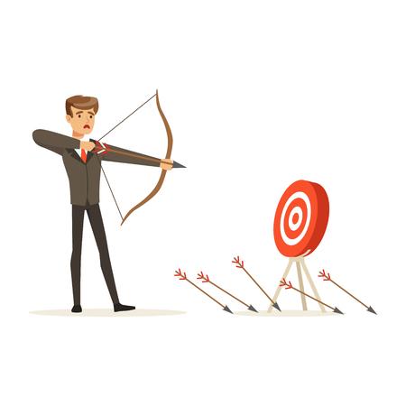 Failing empresario con arco y flecha apunta al objetivo, vector de caracteres sin éxito Ilustración aislada sobre fondo blanco
