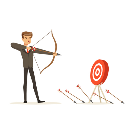 Faiiled businessman with bow and arrow is aiming at target, unsuccessful character vector Illustration isolated on a white background Vectores