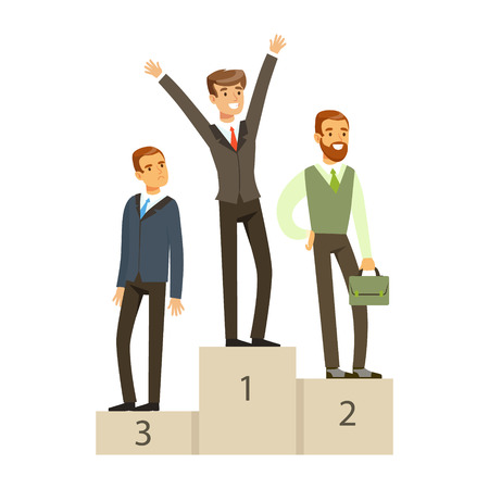 ビジネス競争ベクトル図、表彰台に立っているビジネスマン  イラスト・ベクター素材
