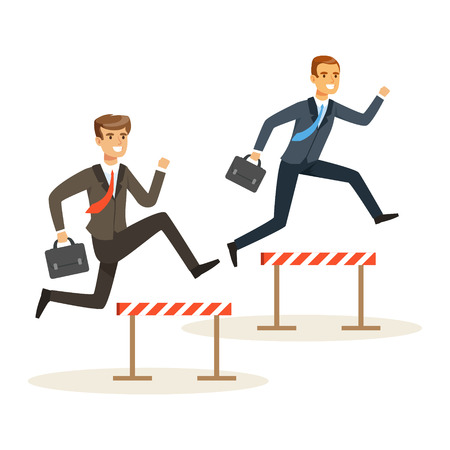 Two businessmen racing over hurdle obstacles, business competition vector Illustration