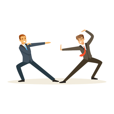 Two businessmen fighting, business competition vector Illustration Çizim
