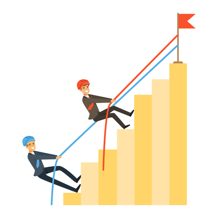 Two businessmen climbing bar graph of success, business competition vector Illustration