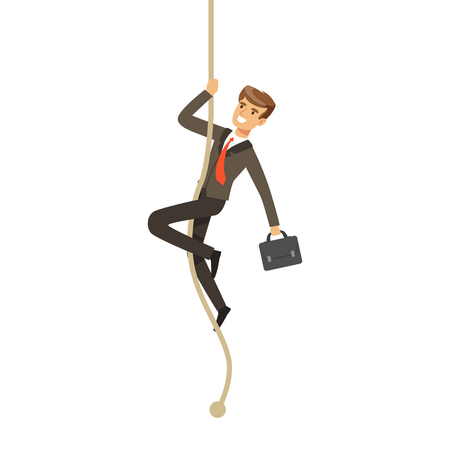 Smiling businessman with briefcase climbing a rope vector Illustration Illustration